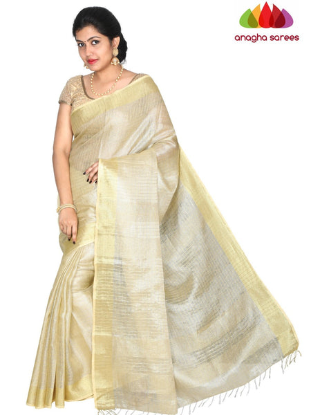Anagha Sarees Pure Linen Length=6.2metres width= 45 inches / Light Golden Pure Linen Saree - Light Golden : ANA_H39
