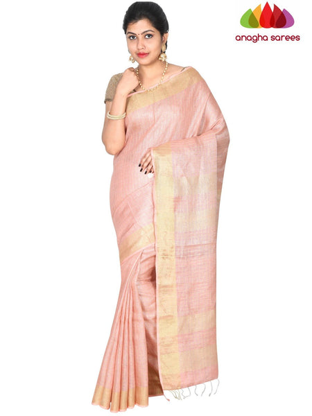 Anagha Sarees Pure Linen Length=6.2metres, width= 45 inches / Peach Pure Linen Saree - Peach : ANA_H38