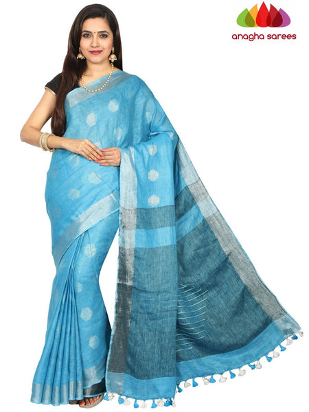 Anagha Sarees Pure Linen Pure Linen Saree - Light Blue ANA_E07