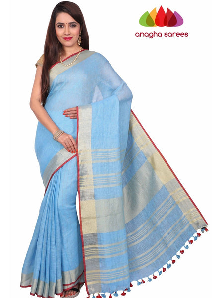 Pure Linen Saree - Light Blue ANA_F49