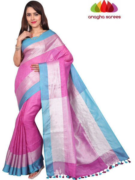 Pure Linen Saree - Light Magenta : ANA_F61