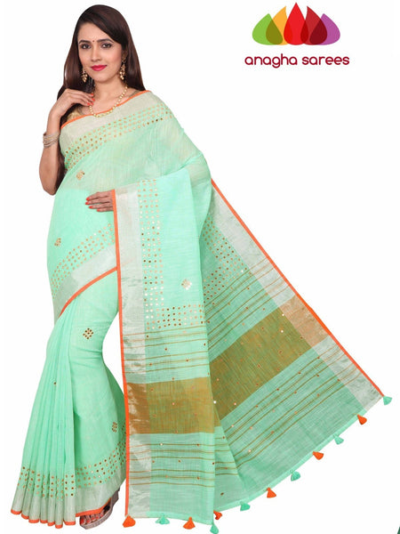 Pure Linen Saree - Pista Green : ANA_F63