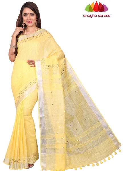 Pure Linen Saree - Yellow : ANA_F64