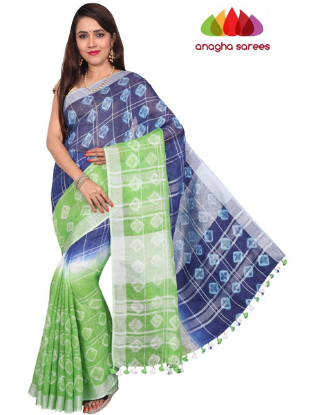 Pure Linen Shibori Saree - Blue/Light Green : ANA_F53
