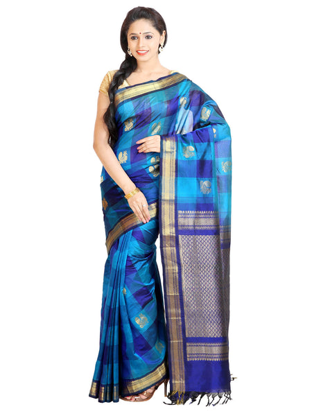Anagha Sarees Silk-cotton saree Handloom Kanjivaram Checkered Silk-Cotton Saree - Blue : ANA_47