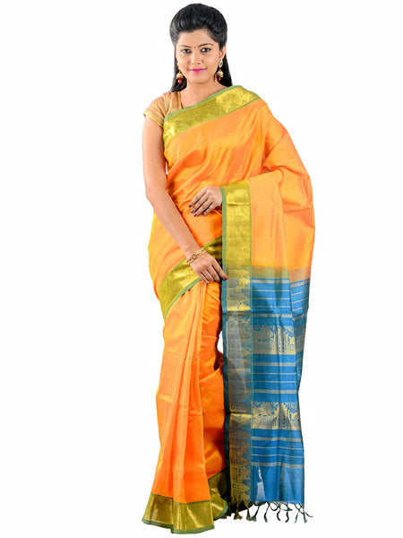 Anagha Sarees Silk-cotton saree Handloom Kanjivaram Silk-Cotton  - Mango Yellow : ANA_29