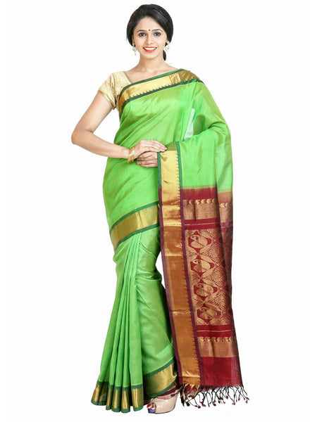 Anagha Sarees Silk-cotton saree Handloom Kanjivaram Silk-Cotton Saree - Parrot Green : ANA_50