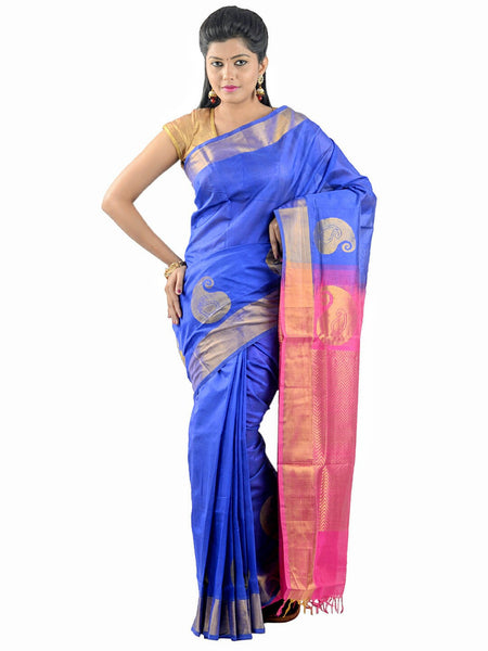 Anagha Sarees Silk-cotton saree Handloom Uppada Silk-Cotton Saree - Blue : ANA_30