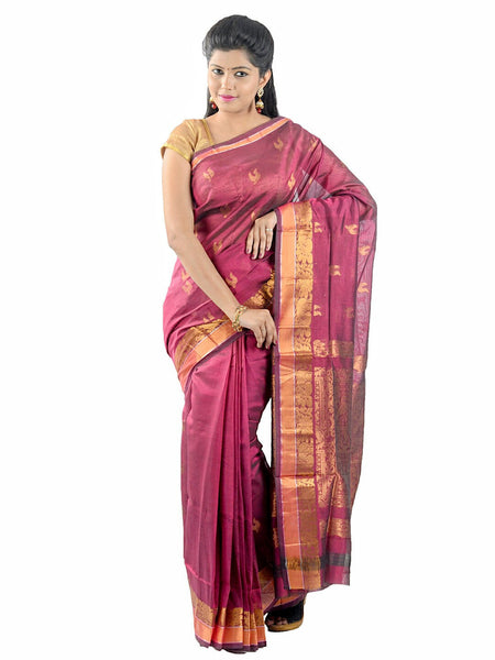 Anagha Sarees Silk-cotton saree Handloom Uppada Silk-Cotton Saree - Magenta : ANA_32