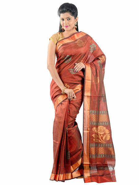 Anagha Sarees Silk-cotton saree Handloom Uppada Silk-Cotton Saree - Maroon : ANA_34