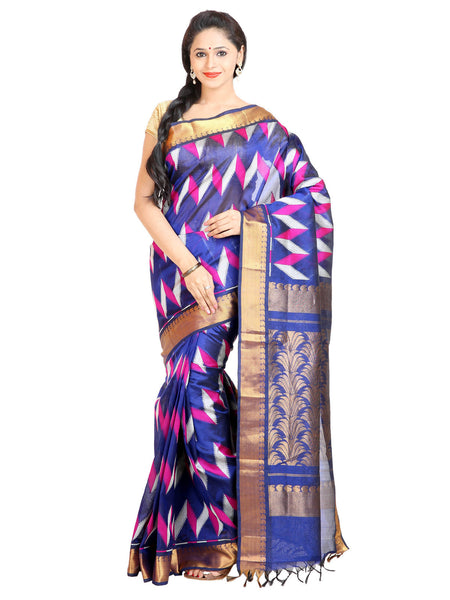Anagha Sarees Silk-cotton saree Handloom Woven Kanjivaram Silk-Cotton Saree - Blue : ANA_62