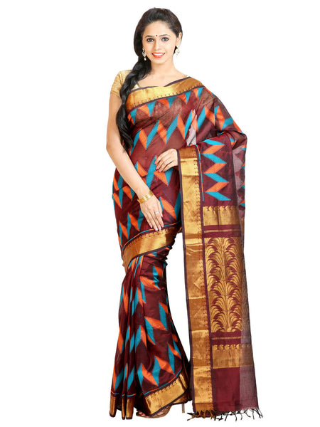 Anagha Sarees Silk-cotton saree Handloom Woven Kanjivaram Silk-Cotton Saree - Brown : ANA_63