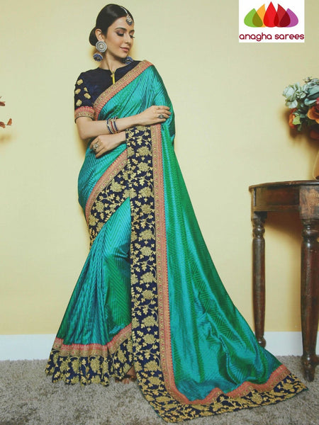 Anagha Sarees Soft khadi silk Length=6.2 metres  Width=46 inches / Peacock blue Designer Soft Khadi Silk Saree - Green : ANA_I32