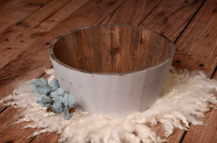 Rustic Bucket - 14in - Light Gray