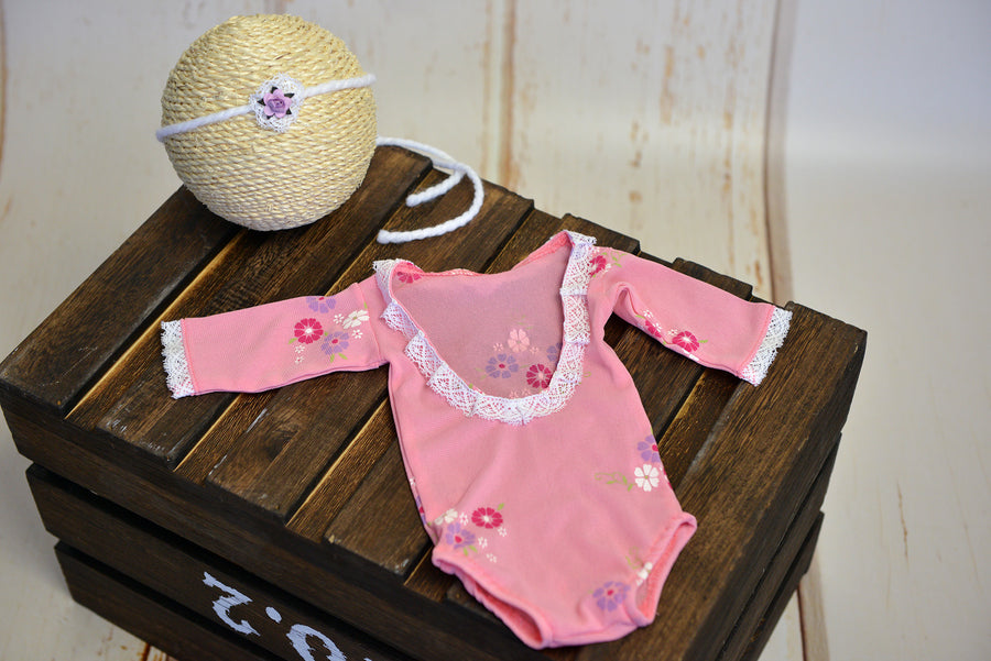 SET Bodysuit and Headband - Floral Pink