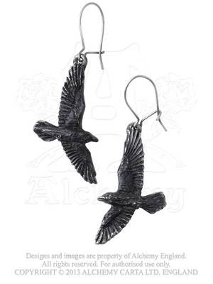 E333 - Black Raven Earrings by Alchemy of England