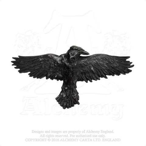 HH10 - Black Raven Hair Slide by Alchemy of England - New