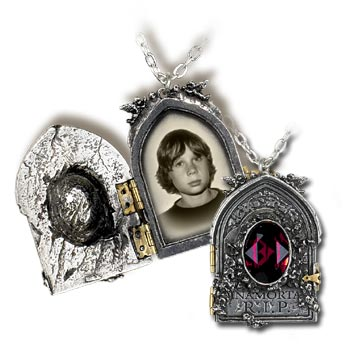 P465 - Gravestone Locket English Pewter Pendant by Alchemy Gothic - Rare