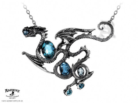 P646 - Aqua Dragon Necklace by Alchemy of England