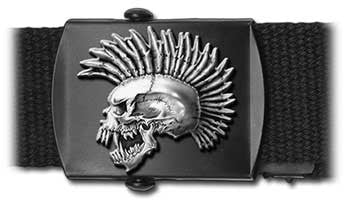 Exploited Punk Skull Licensed Pewter Web Belt & Buckle by Alchemy Poker