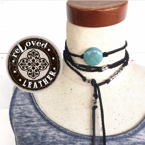 Leather Tie Choker Wrap with Turquoise Adornment - Long