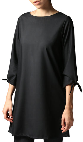 Asfa Long Modest Tunic with Tie Sleeves - Black