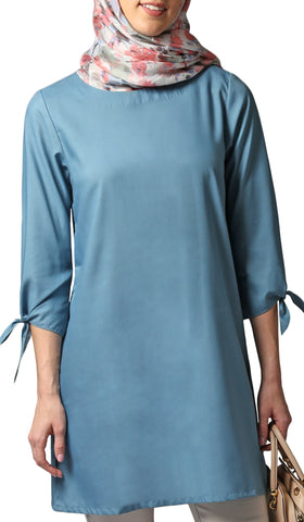Asfa Long Modest Tunic with Tie Sleeves - Teal Blue