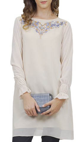 Asma Embroidered Formal Long Modest Tunic - Cream