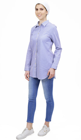 Emi Long Pinstripe Button down Shirt - Blue and White