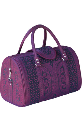 Exquisite Embroidered Vegan Handbag - Maroon/ Black
