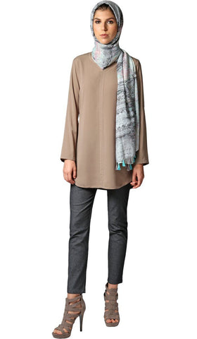 Hena Long Modest Everyday Tunic - Mocha Beige