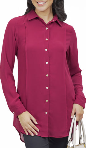 Marwa Chiffon Long Collar Buttondown Dress Shirt - Maroon