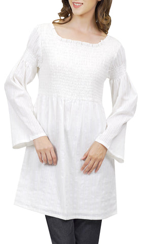 Mia Long Smocked Cotton Eyelet Tunic Dress - Off White