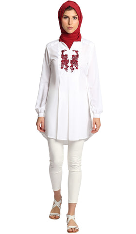 Navila Embroidered Long Tunic Dress - Off White