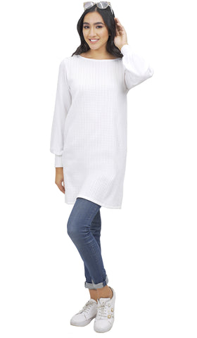 Sheena Long Modest Stretch Cable Knit Tunic Dress - White