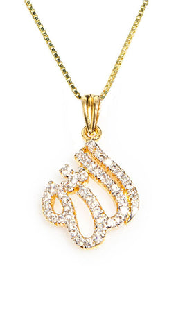 Gold-Plated Sterling Silver Diamond-Look Allah Necklace (small) - ARTIZARA.COM