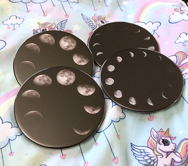 Moon phases coaster set / Moon drink coasters - Radical Buttons