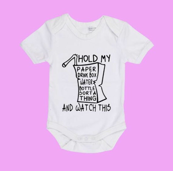Hold my paper drink box Trudeau baby bodysuit - Radical Buttons