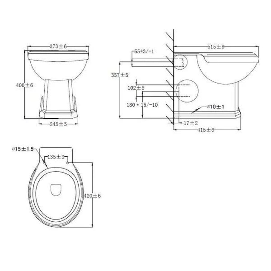 Cassellie Cromford Traditional Back to Wall Toilet - Excluding Seat - EverythingBathroom.co.uk
