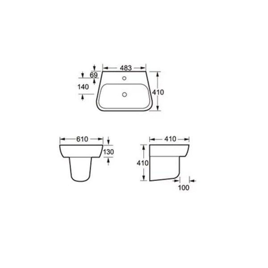 Cassellie Dearne Basin - Semi Pedestal - 610mm Wide - 1 Tap Hole - EverythingBathroom.co.uk