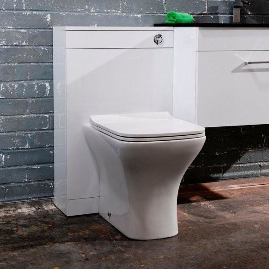 Cassellie Fair Back To Wall Toilet - Soft Close Seat - White - EverythingBathroom.co.uk
