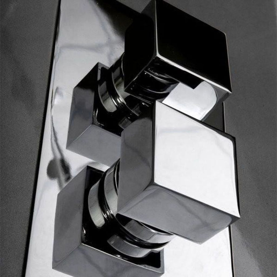 Cassellie Istria Twin Square Concealed Shower Valve - Chrome