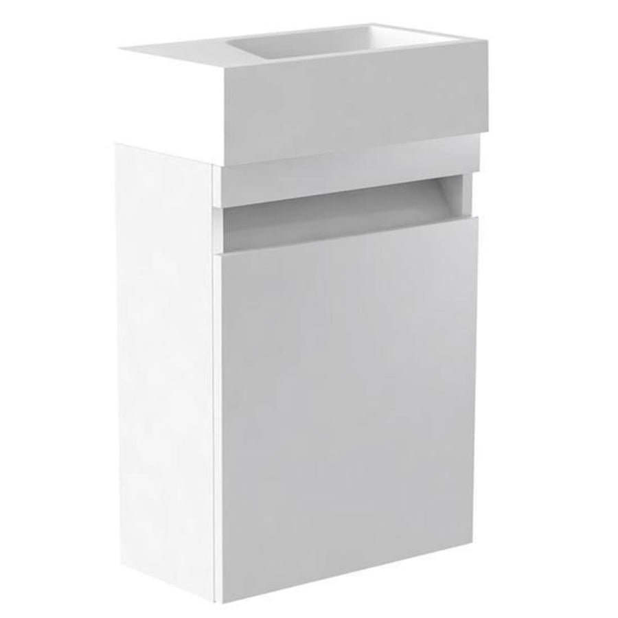 Ikon 400mm Wall Mounted Cloakroom Unit & Basin - EverythingBathroom.co.uk