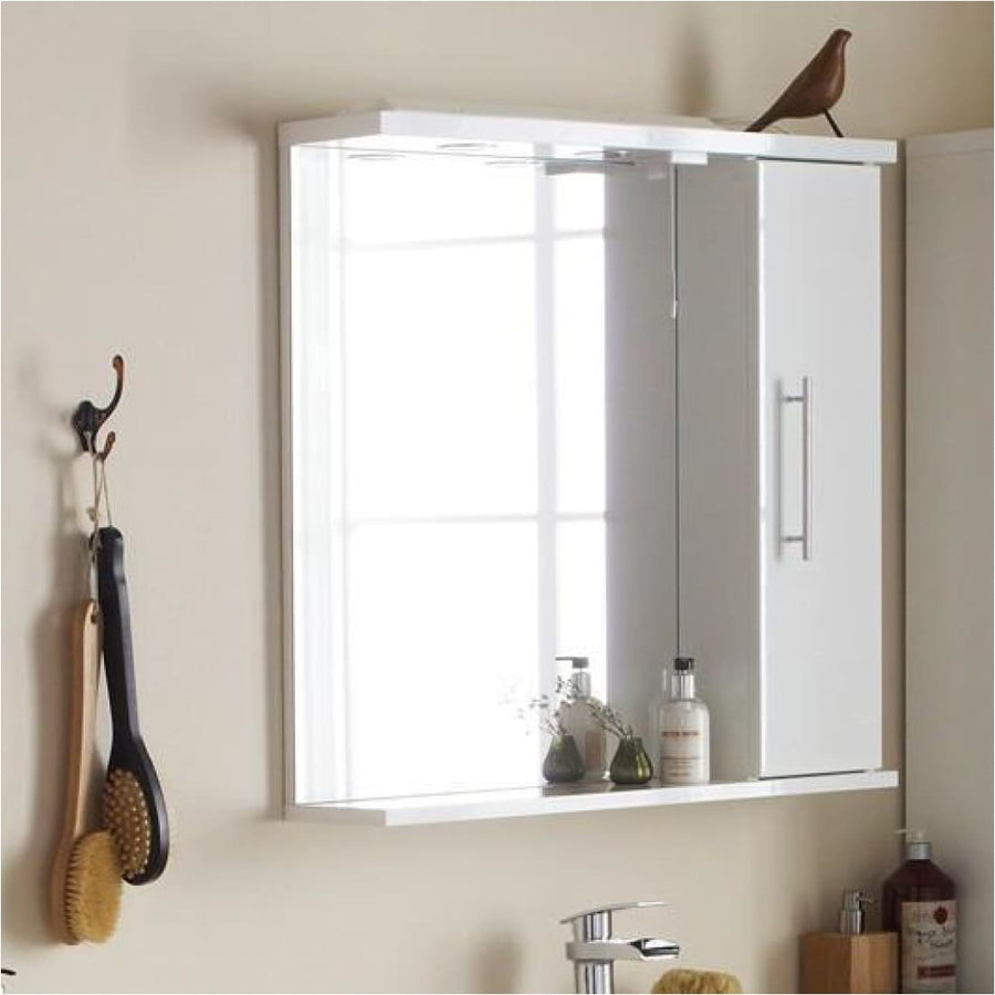 Impakt Bathroom Mirror with Side Cabinet & Lights - Left Hand