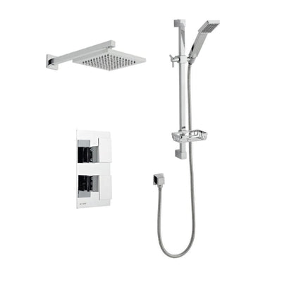 Kartell Element 3 Thermostatic Concealed Shower with Slide Rail Kit and Overhead Drencher - EverythingBathroom.co.uk