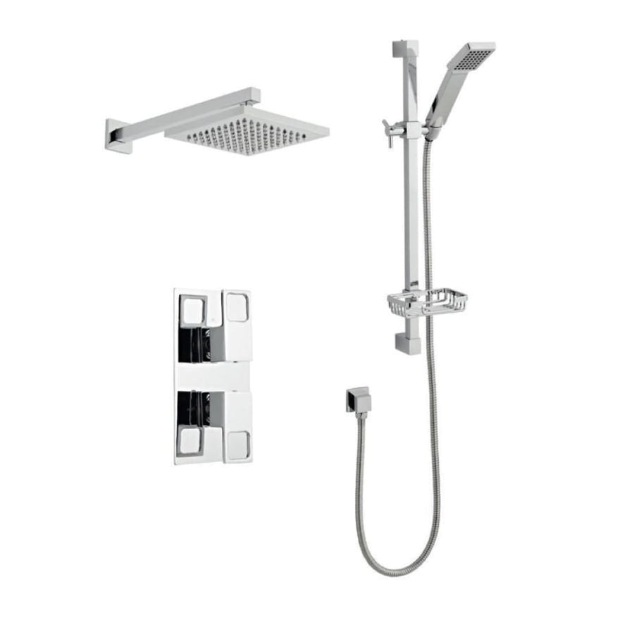 Kartell Kourt 3 Thermostatic Concealed Shower with Slide Rail and Overhead Drencher