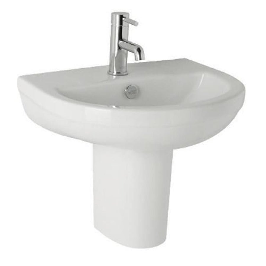 Kartell Revive 510mm 1th Basin and Semi Pedestal - EverythingBathroom.co.uk