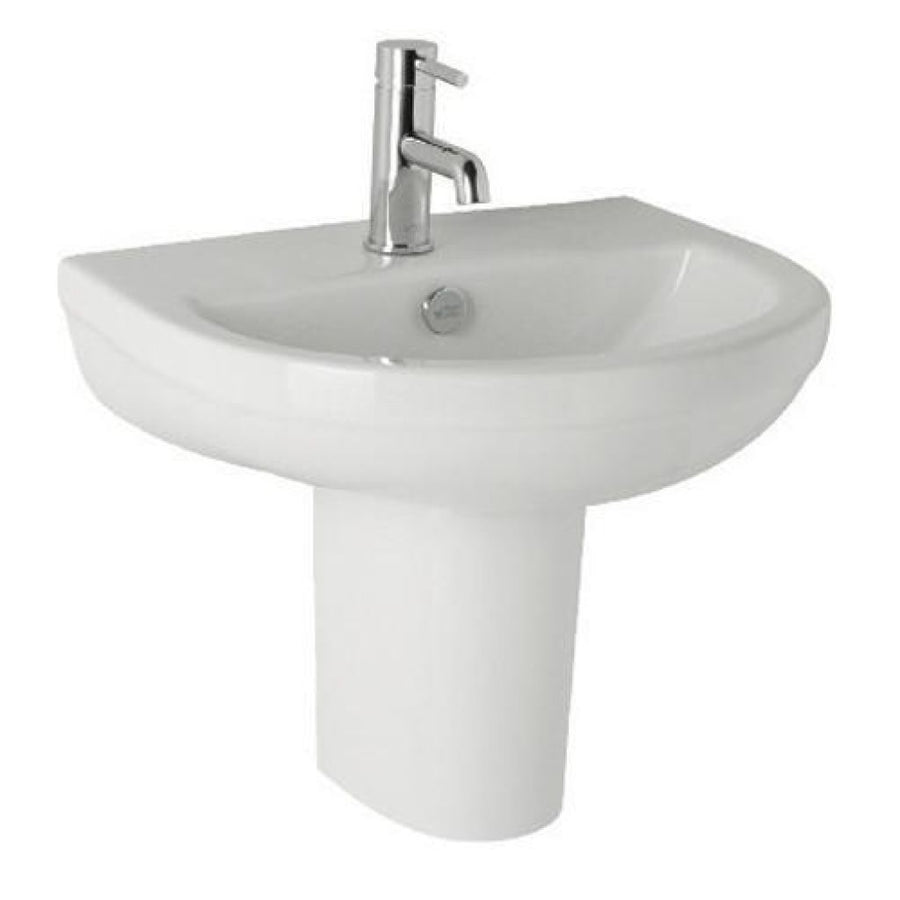 Kartell Revive 570mm 1th Basin and Semi Pedestal - EverythingBathroom.co.uk