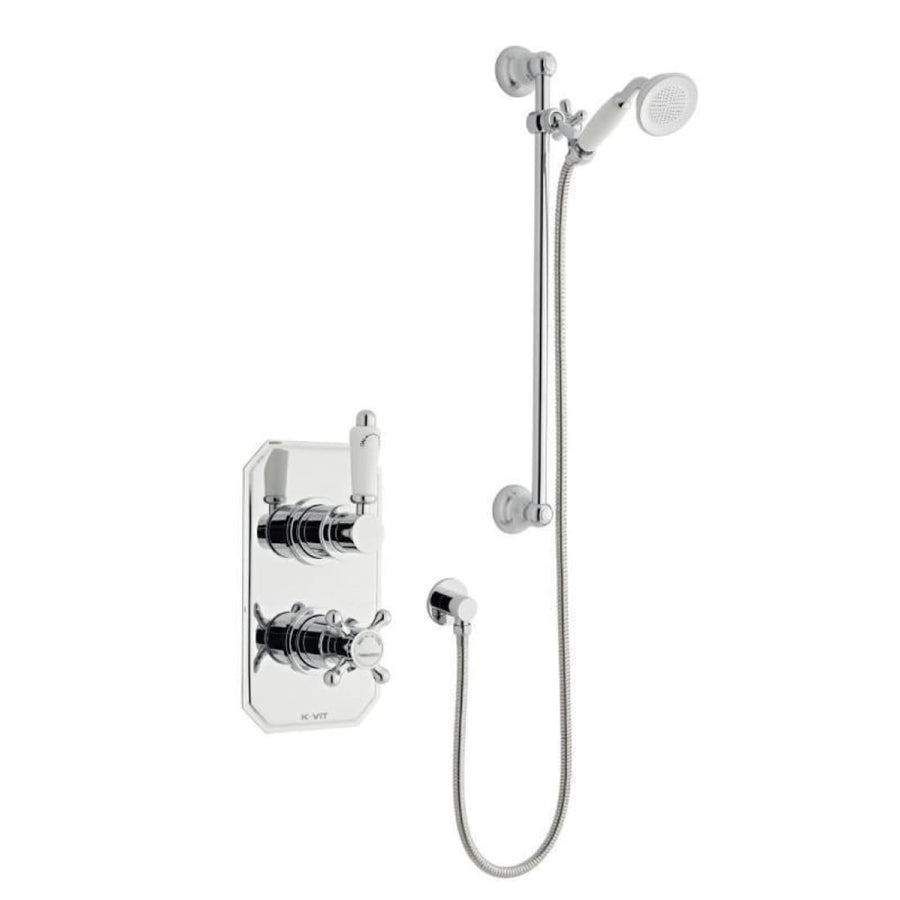 Kartell Viktory 1 Thermostatic Concealed Shower with Slide Rail Kit - EverythingBathroom.co.uk