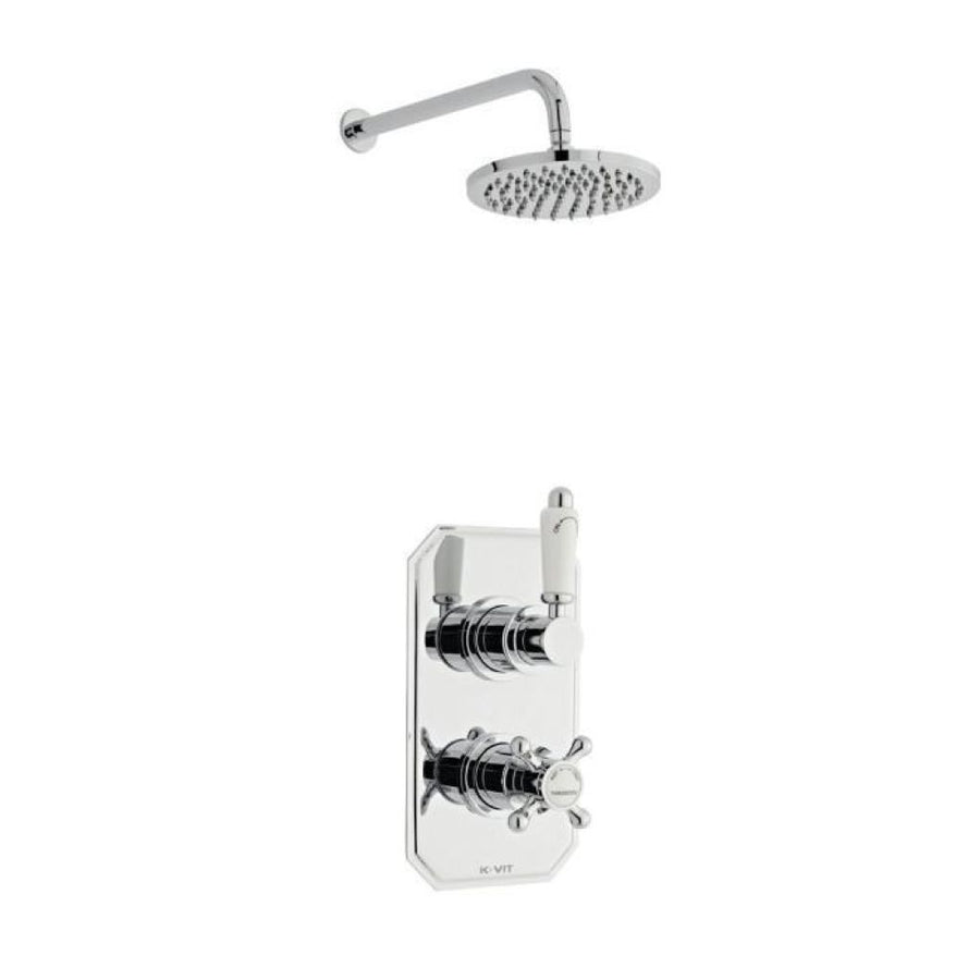 Kartell Viktory 2 Thermostatic Concealed Shower with Overhead Drencher - EverythingBathroom.co.uk